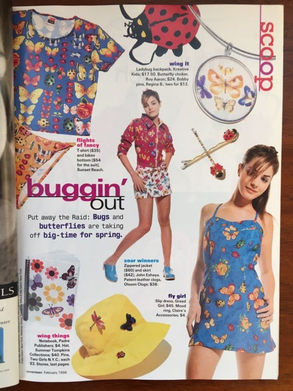 Vintage Seventeen Magazine- February 1996 Jeremy London 90's page scan bugs butterfly dragonfly ladybug