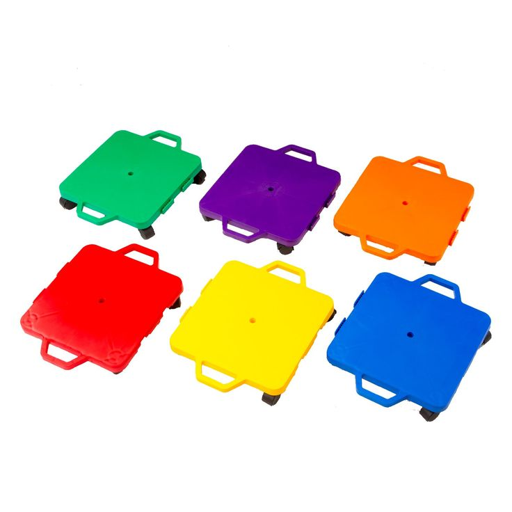 Cosom 16 Inch Plastic Childrens Scooter Board With 2 Inch Non-Marring Nylon Casters and Safety Guards for Physical Education Class, with Safety Handles, Sitting Scooter Board, 6 Color Set