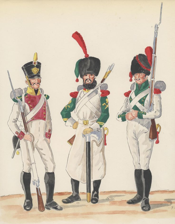Naples; 4th Line Infantry, Voltigeur & 5th Line Infantry, Sapper Corporal & Grenadier, 1813-15 by H.Boisselier