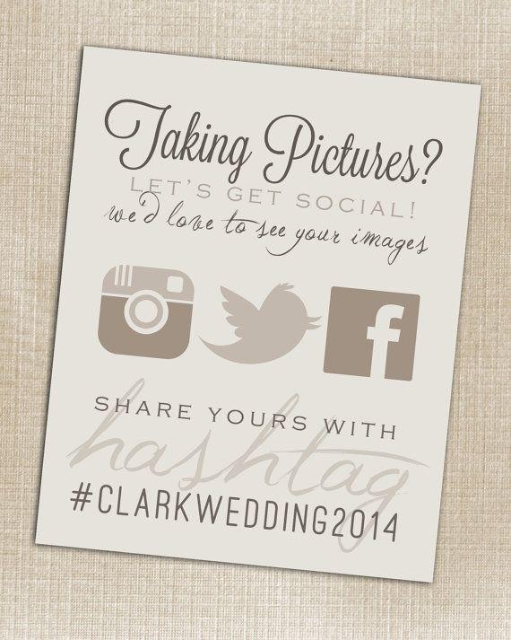 Instagram - Wedding Instagram Facebook Twitter Beige Hashtag Print - Printable - Digital JPG File 8x10