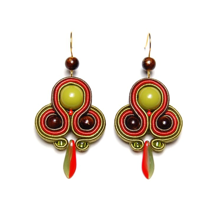 Soutache earrings green olive orange brown handmade jewelry shop gift for sale buy orecchini pendientes oorbellen Ohrringe brincos örhängen by SoutacheFlowOn on Etsy