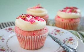 Pink & Red Sprinkles Cupcake