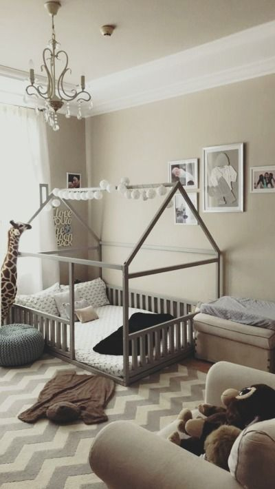 Full size or Queen size platform bed or wooden house bed, children bed, Montesso…