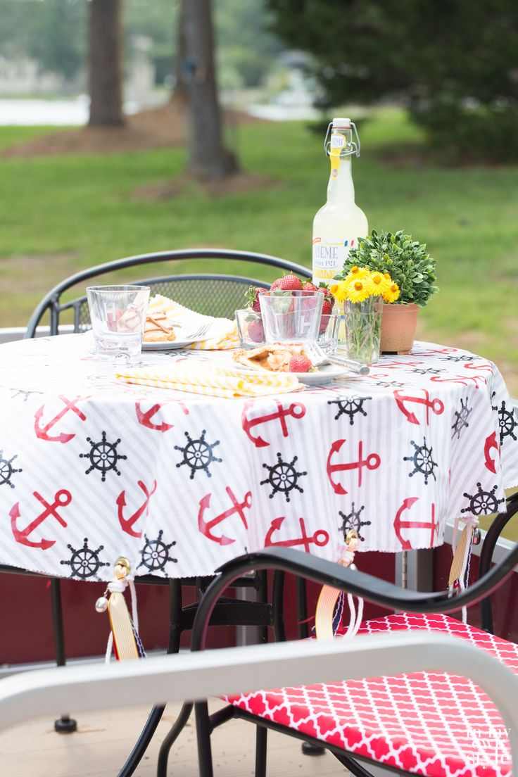 No Sew Outdoor Tablecloth And Weights