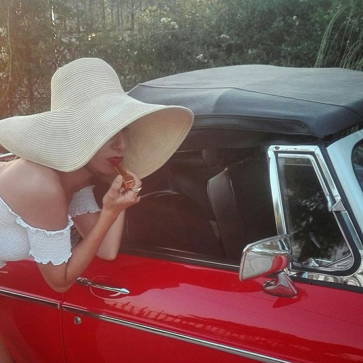 Red lipstick red car woman hat vintage style vintge car sexy lady  Instagram @marthakoub