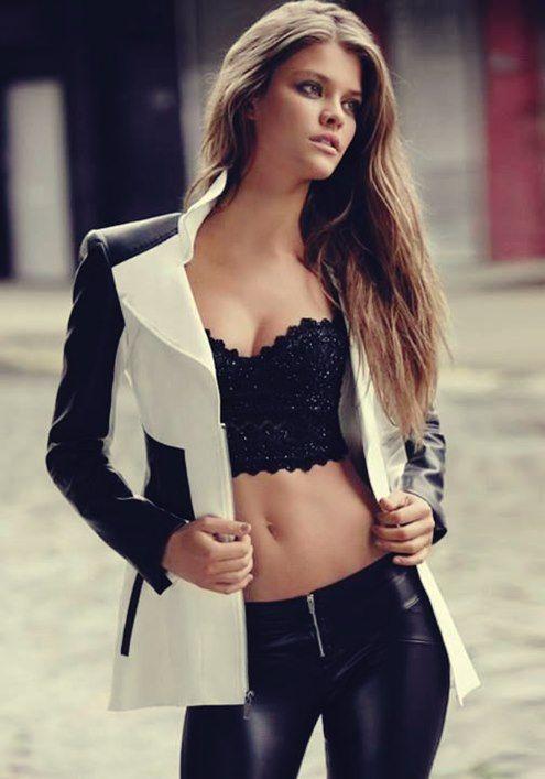 2015 kadın blazer ceketler siyah beyaz blazer ceket kadın straplez büstiyer deri pantalon