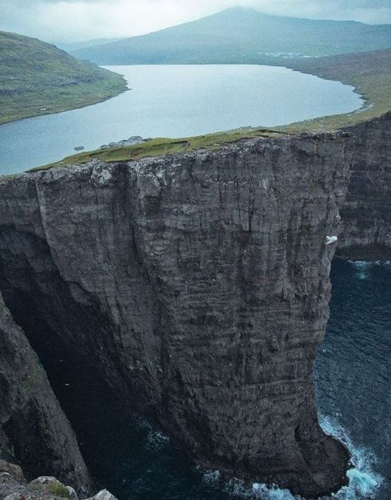 A Lake Above the Ocean in the Faroe Islands