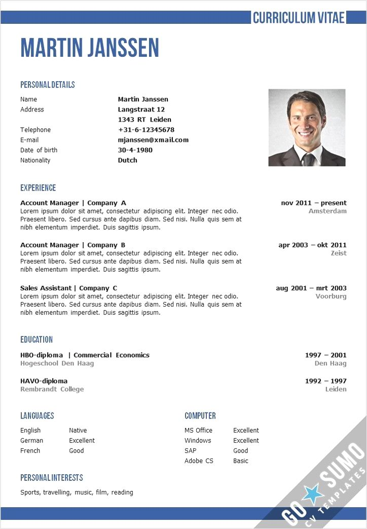 Cv Template With An Professional Appearance Make A Great First Impression On Your Job Application Word Docx An Good Resume Examples Resume Examples Resume