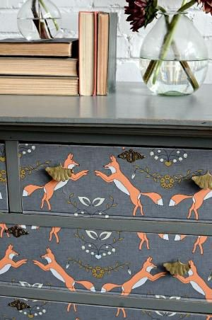 How to Mod Podge Wallpaper onto Furniture ` Foxes beauty by vivian