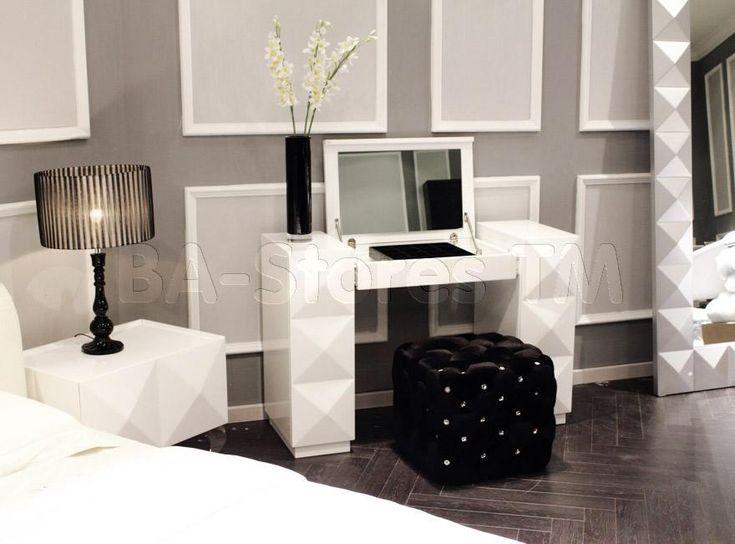 makeup vanity tables mirrors eva white lacquer vanity table vig furniture vgdvls203 2. Black Bedroom Furniture Sets. Home Design Ideas