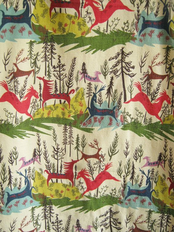 1950s barkcloth fabric novelty deer horses trees by edgertor