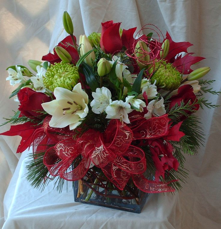 Holiday Centerpiece using red, white, gold, and green