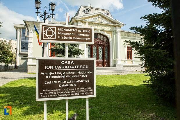 Casa Ion Carabatescu (1896), azi Banca Națională a României sucursala Târgu Jiu, strada Geneva 4