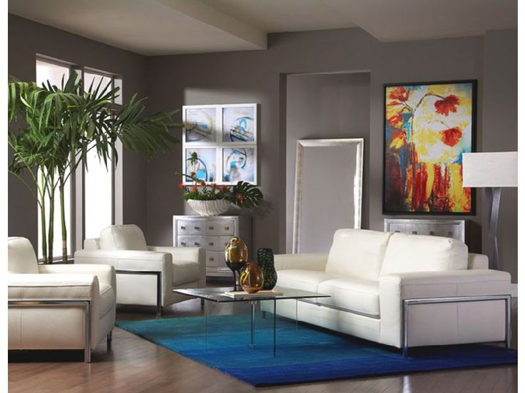 Merveilleux The Fregene With Glass On Glass Living Room Set Combines The Glamour Of  Pristine White Leather