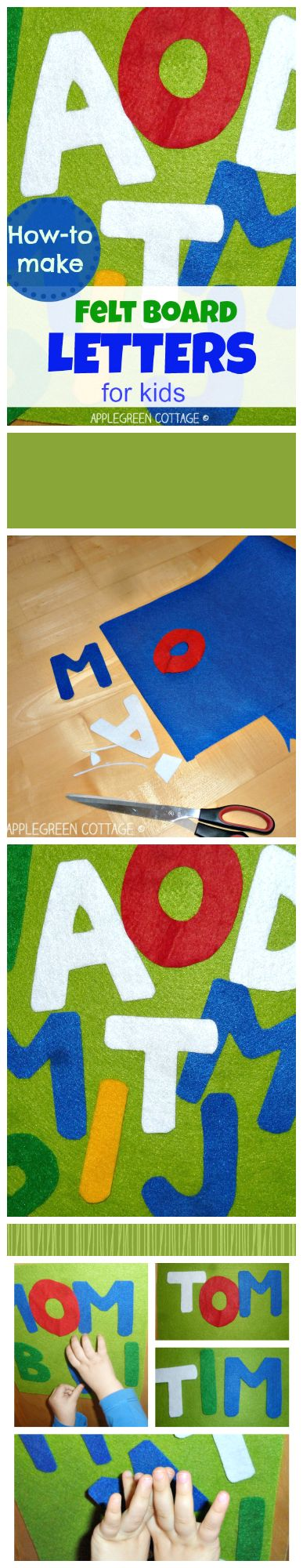 How to make a DIY felt board and SIMPLE felt letters for your kid. You'll also find a visual presentation of various felt materials to give you a better picture of what kind of felt to choose for the letters. Have a look!