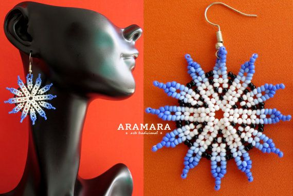 Mexican Huichol Beaded Blue and Whiet Flower Earrings by Aramara