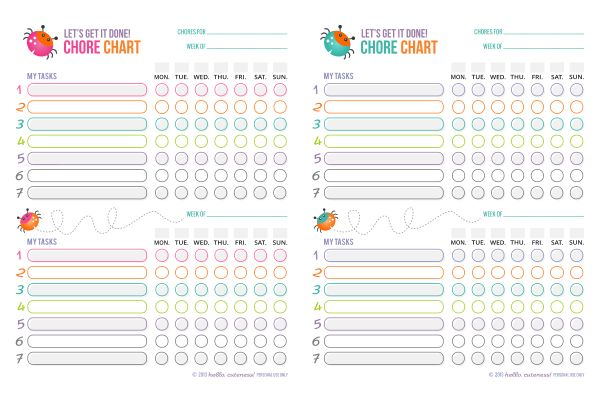 Let's Get it Done!  Free Printable Chore Charts for Kids