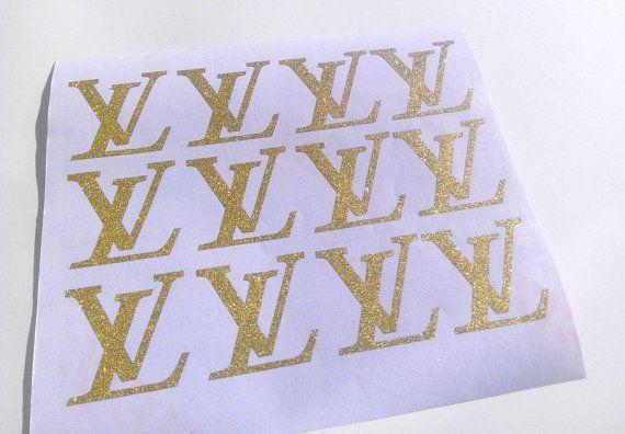 20 glitter autocollants de louis vuitton LV par MOApartystickers