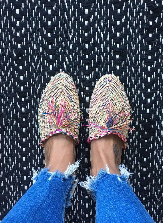 Raffia slipper shoes multicolor handmade NEW straw bast