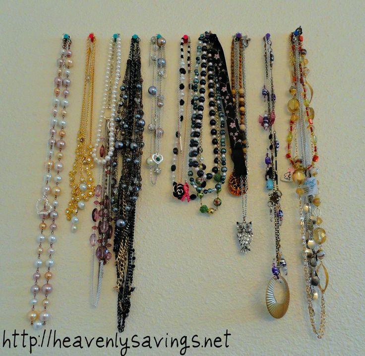 Necklace Organization for you bathroom!