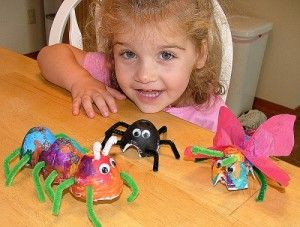 Although this website is not all about art, I think this particular project- making little bugs and spiders using materials like a torn egg carton- is worth sharing.  The project is simple enough for young kids to do on their own and allows them to express their creativity by putting their own personal spin on their project!