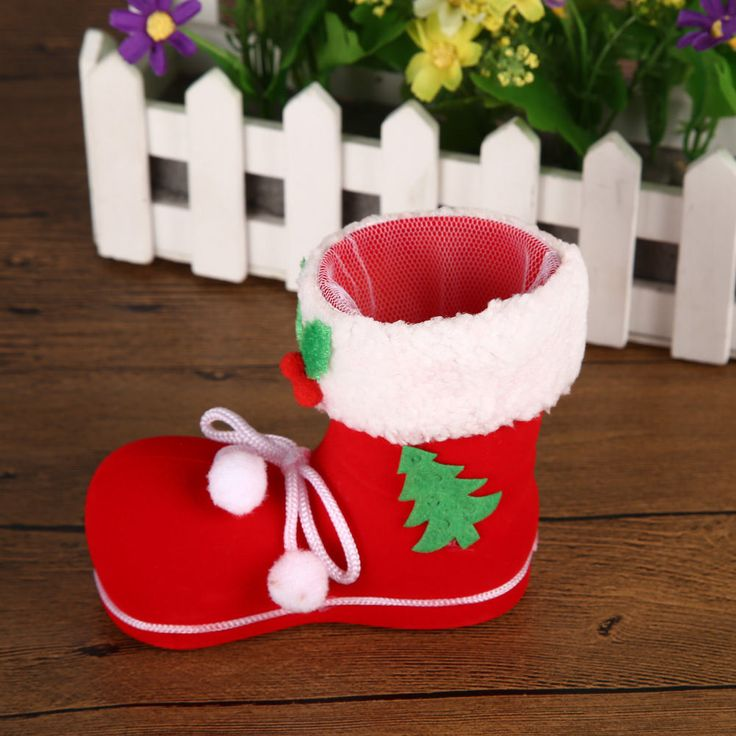 Christmas Tree Decoration ornaments Red flocking Xmas boots Candy bag Container. ECA Listing By Helen of Troy's Shopping, Serbia
