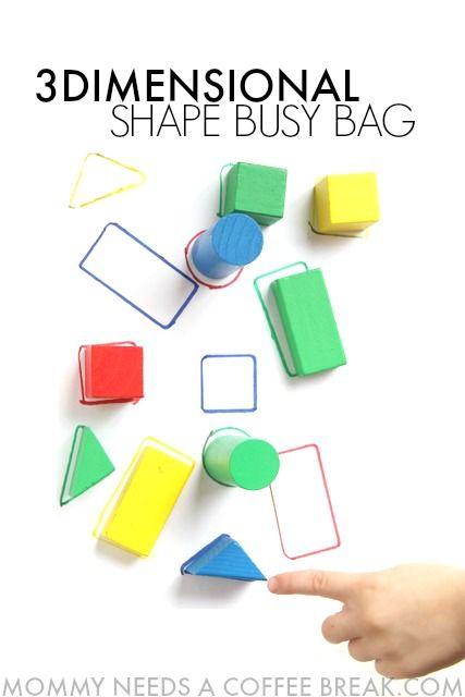 3D shape identification busy bag for Kindergarten