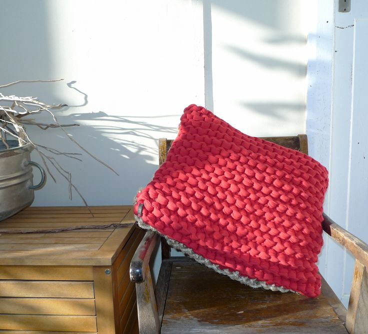Red soft cotton top and durable sisal rope base floor cushion. Hand knitted
