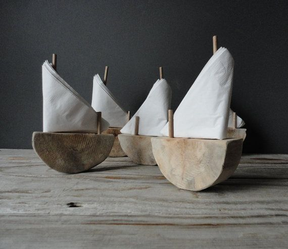 Authentic Driftwood Sailboat Napkin Holder by OceanSwept on Etsy, $18.00