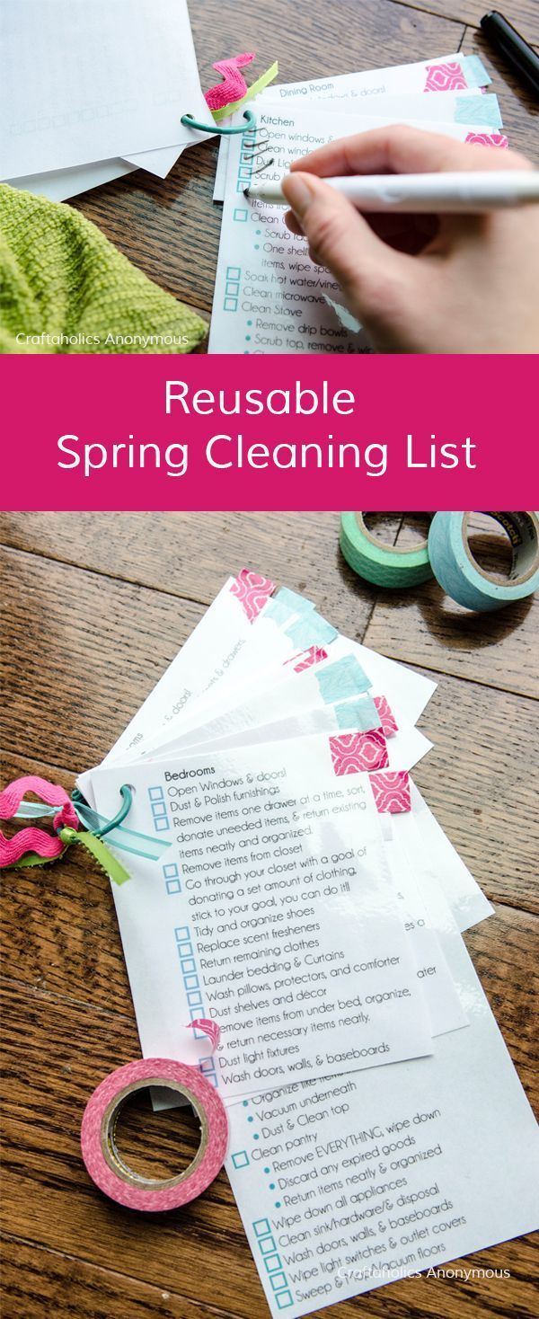 Reusable Spring Cleaning list || Love this idea so my home gets completely cleaned year after year. No dust bunnies left behind!!!