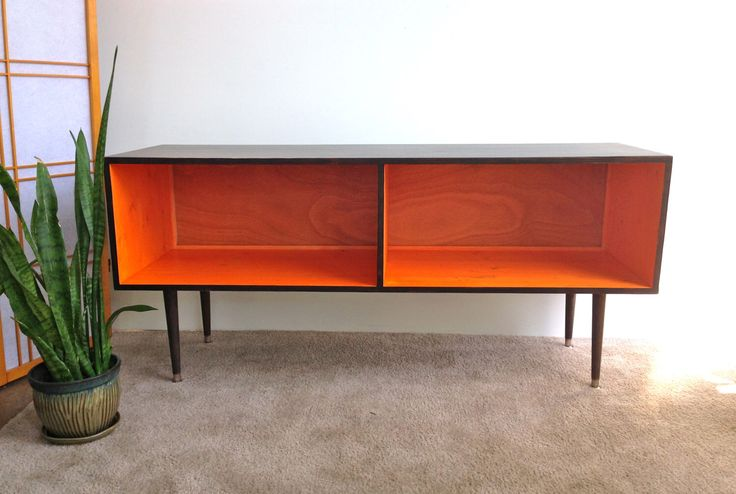 Mid Century Modern Record Cabinet Media Table  TV Stand Entertainment Cabinet, MCM Orange and Chocolate Brown by TinyLionsDesigns on Etsy https://www.etsy.com/listing/197270216/mid-century-modern-record-cabinet-media