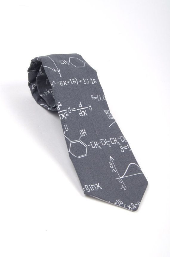 Men's Grey Necktie - Science, Chemistry and Math tie  by DapperGent  Perfect gift for father's day or your favorite Science, Math or Chemistry teacher!  Geek dad
