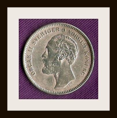 OSCAR II SVERIGES O NORGES KONUNG. 2 KRONOR. 1878. The Benson Collection.