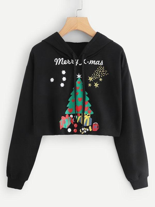 d9eeae858b Christmas Tree Print Drawstring Hoodiewomen's hoodies,champion hoodie,womens  hoodies on sale,womens designer hoodies,#shein #sheinside #fashion  #beautiful ...