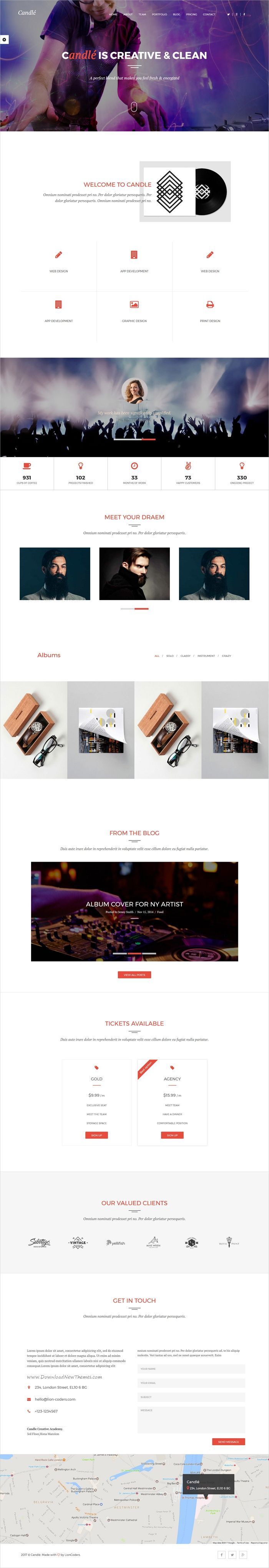 Candle is a premium responsive HTML bootstrap template for #music #events and portfolio showcase websites with multiple homepage layouts download now➩ https://themeforest.net/item/candle-one-multipage-multipurpose-template/19471236?ref=Datasata