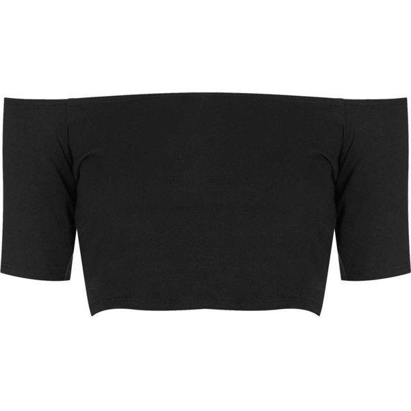 TOPSHOP Bardot Crop Top ($7.73) ❤ liked on Polyvore featuring tops, crop tops, shirts, crop, black, black short sleeve top, shirts & tops, topshop, short sleeve shirts and topshop shirt