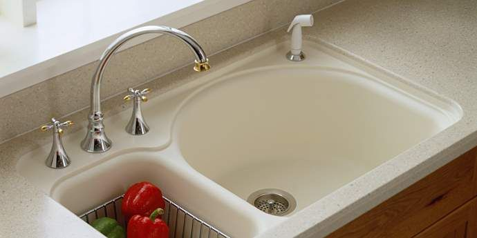 Corian integral sink double unequal sink i like how for Corian farm sink price