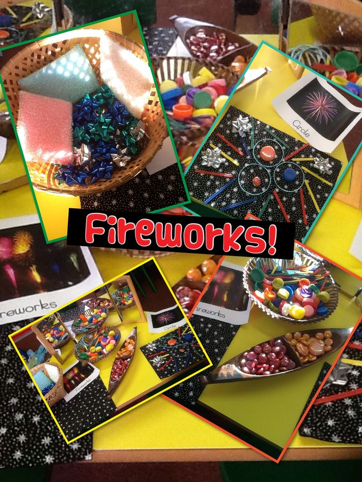 Using loose parts to create fireworks pictures!