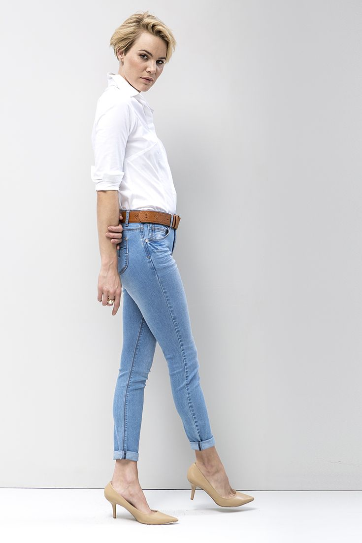 "Slim leg denims worn with a classic white shirt. Famously flattering and designed to give your legs that ""go-on-forever"" look.   #miladys #miladysdenim #denim"