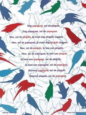 Op de post - poëziekaarten per stuk - De pinguïn en de papagaai