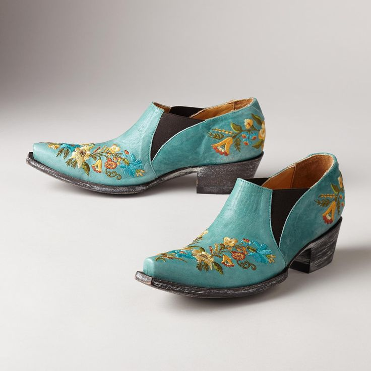 """JASMINE SHOES--Old Gringo combines the best of yesterday and today in cowboy-inspired, slip on shoes with handcrafted embroidery, made to last a lifetime. Leather. Imported. Whole and half sizes 6 to 10, 11.1-1/2"""" heel. These are running 1/2 size larger."""