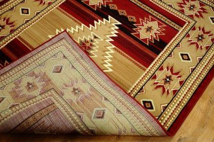 Dywan tradycyjny Indiański wzór czerwień w kolorze bordo i beżu. Dywan ma tradycyjny wzór kojarzący się z indiańskimi motywami
