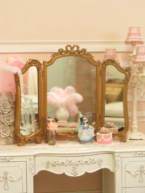 shabby trifold vanity rose desktop mirror girly home