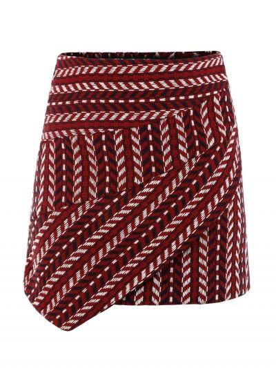 ff2ff7a93a Multicolor High Waist Geo Pattern Asymmetric Hem Skirt | christmas skirts |  Skirts, Skirt fashion, Christmas skirt