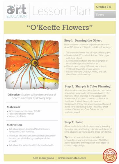 O'Keeffe Flowers (Get Kids to Draw BIG!): Free Lesson Plan Download | The Art of Ed