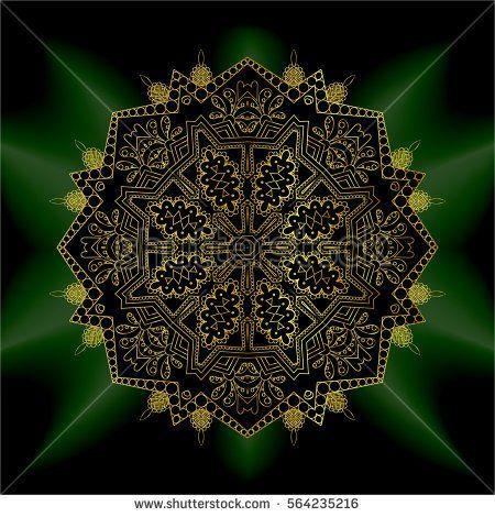 золото мандалы мантры ом. Индийский узор декоративных элементов. Круглый золотой черный цветок. изумрудным сиянием