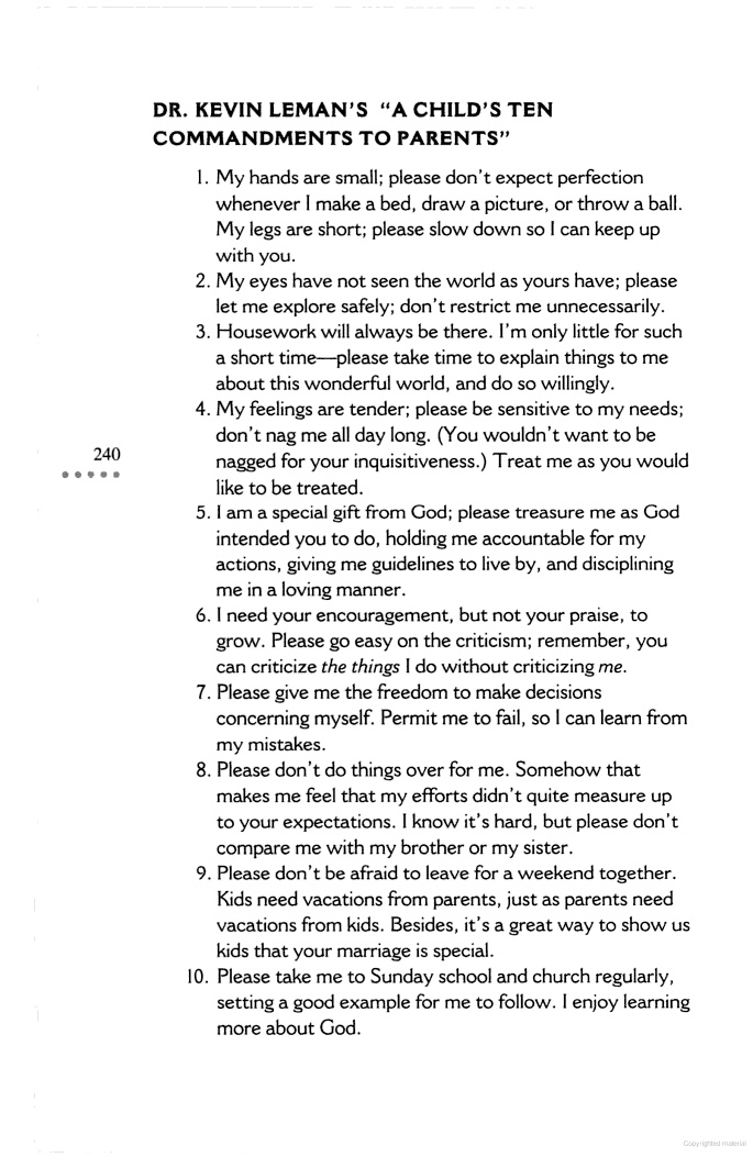 """Dr. Kevin Leman's """"A Child's Ten Commandments to Parents"""""""