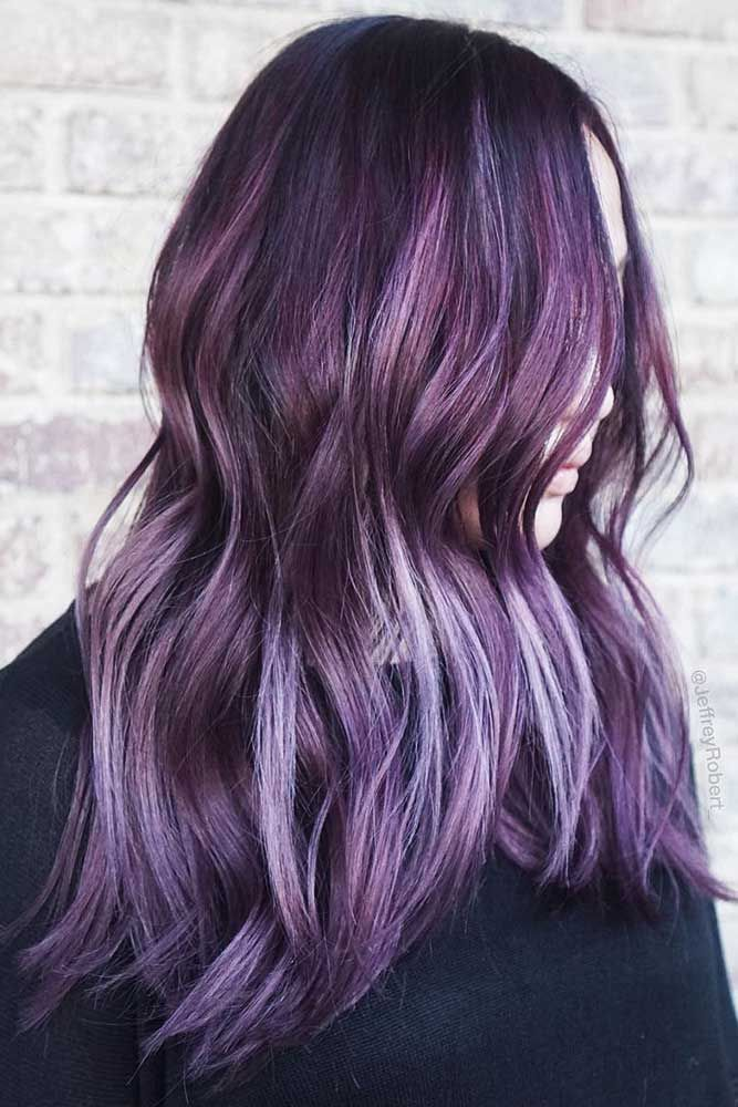 Smokey Plum With Babylights #brunette #purplehair ❤️ Purple and black hair i...