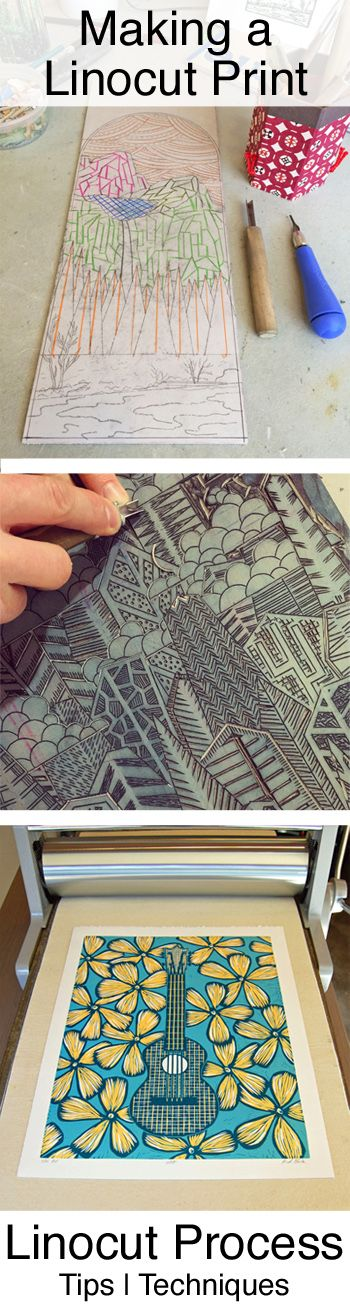 Linocut Tutorial: tips, techniques, tools and materials. Making a linocut print step-by-step. By Boarding All Rows.