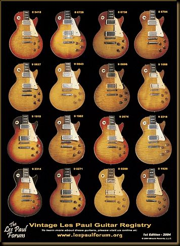 The Les Paul Forum Vintage Les Paul Guitar Registry Poster 1st Edition - 2004